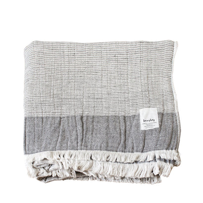 Ten i muhoh Heather Stripe Bath Towel -  Grey