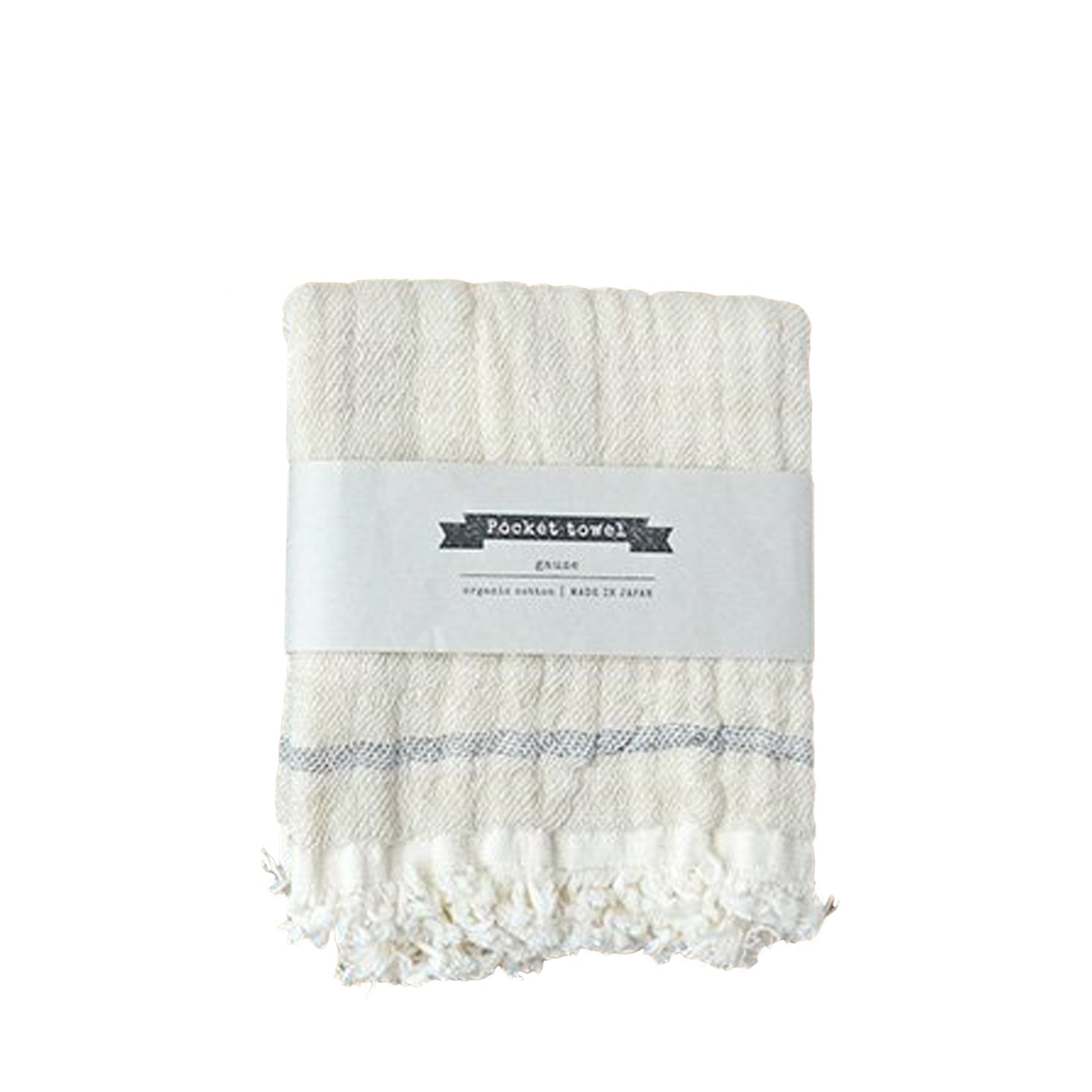 Ten i muhou Pocket Towel - Beige Navy Line