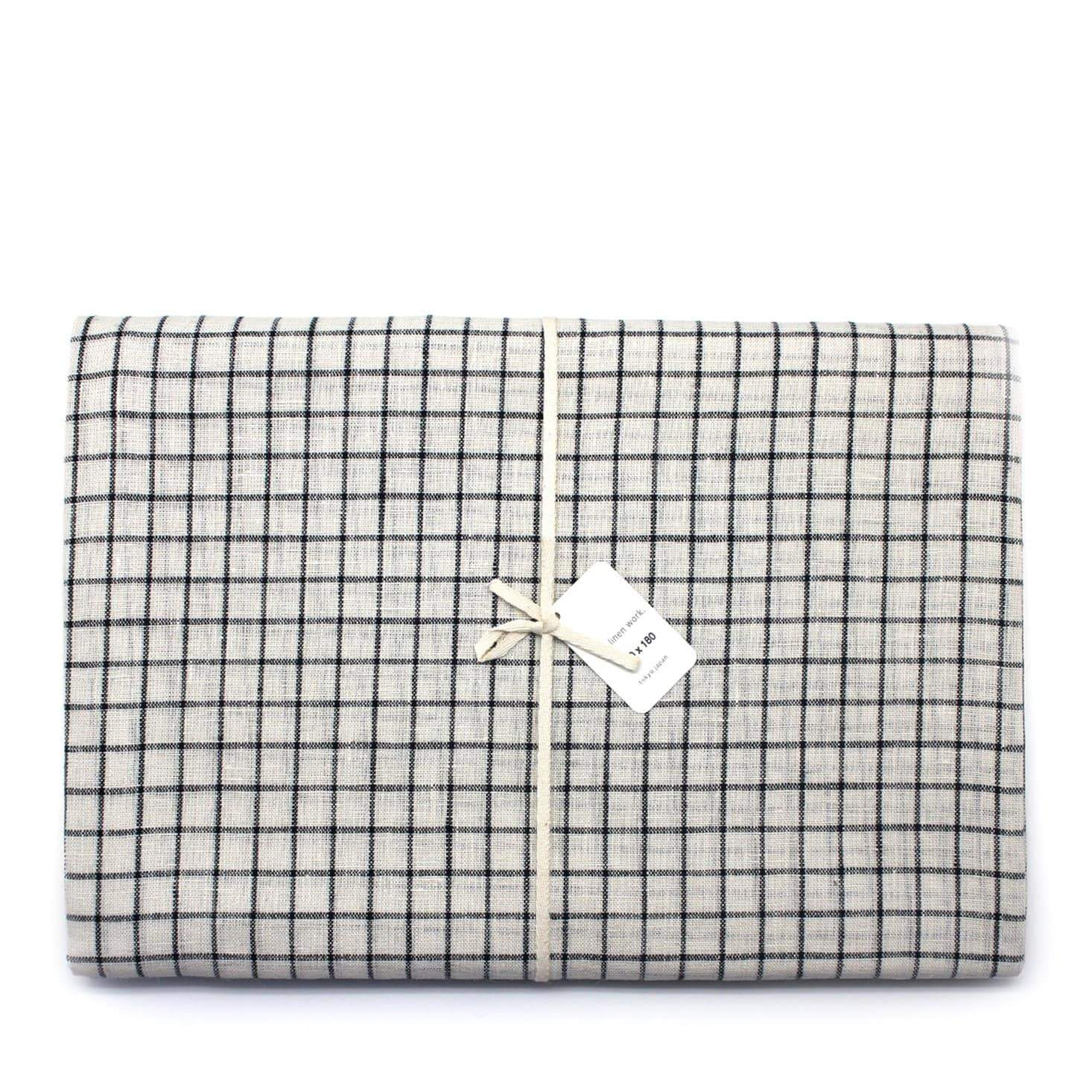 Fog Linen Work Table Cloth - Cream + Black Fine Check
