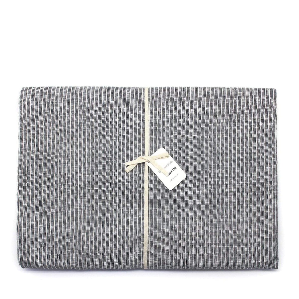 Fog Linen Work Table Cloth Grey Pinstripe Official Stockist