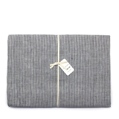 Fog Linen Work Table Cloth - Grey Pinstripe