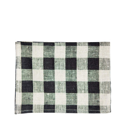 Fog Linen Work Tea Towel - Black + Cream Plaid