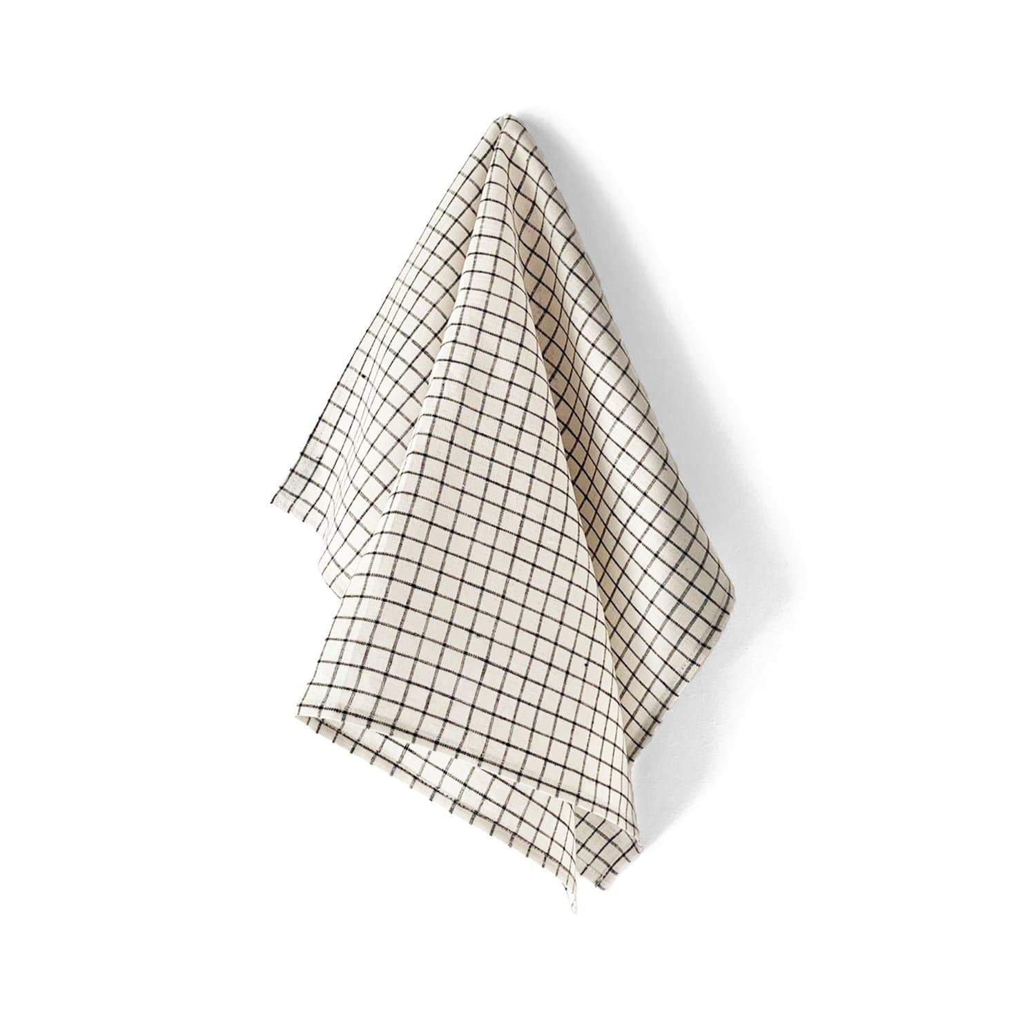 Fog Linen Work Tea Towel - Cream + Black Fine Check