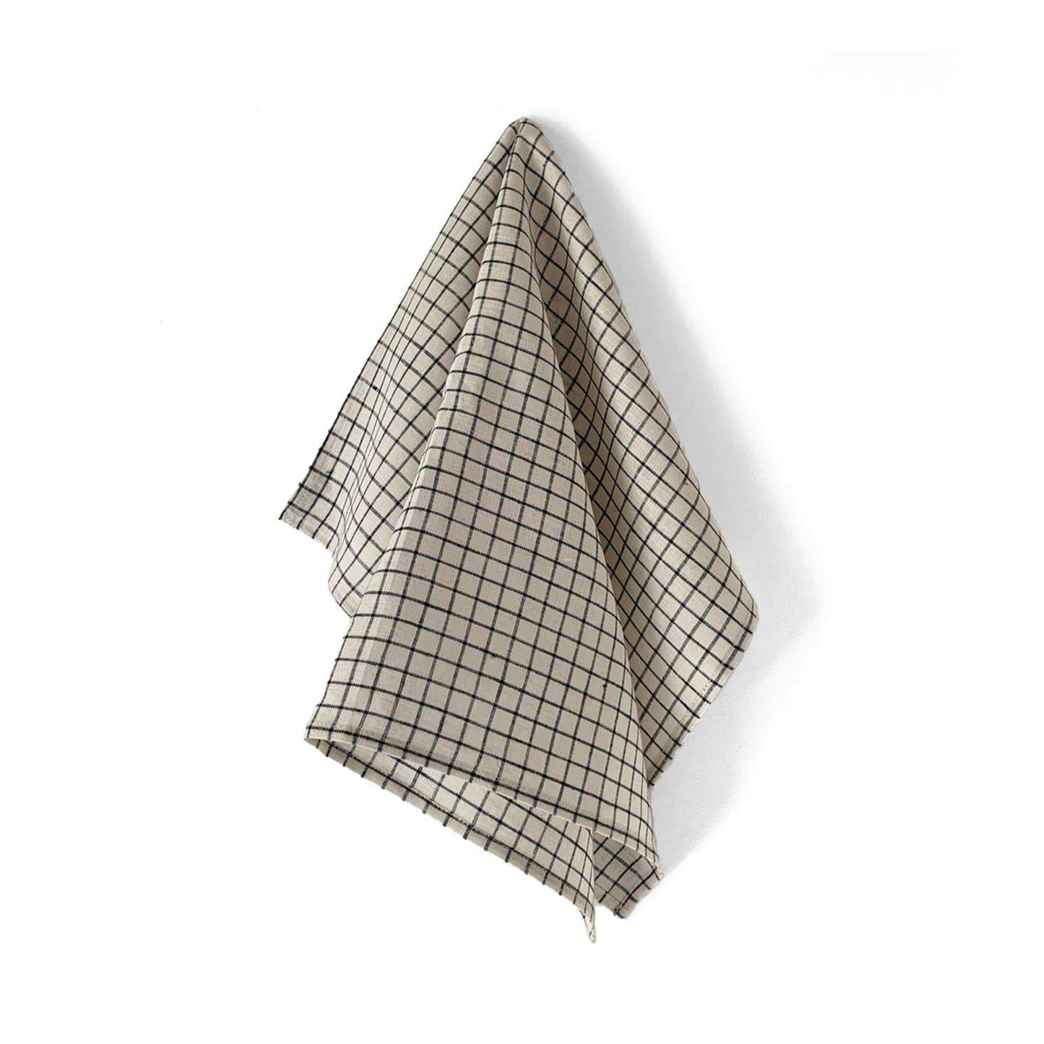 Fog Linen Work Tea Towel - Ecru + Black Fine Check
