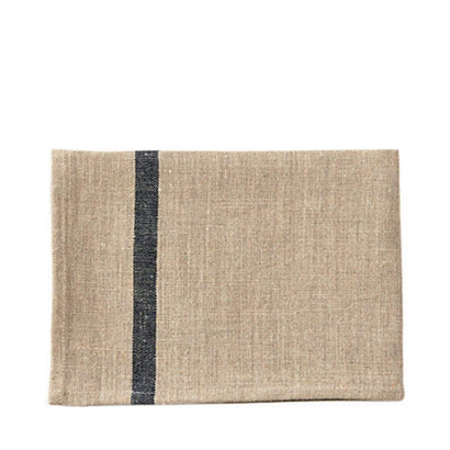 Fog Linen Work Tea Towel - Ecru with Navy Stripe