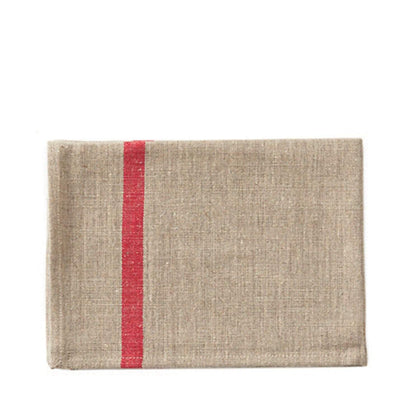 Fog Linen Work Tea Towel - Ecru with Red Stripe