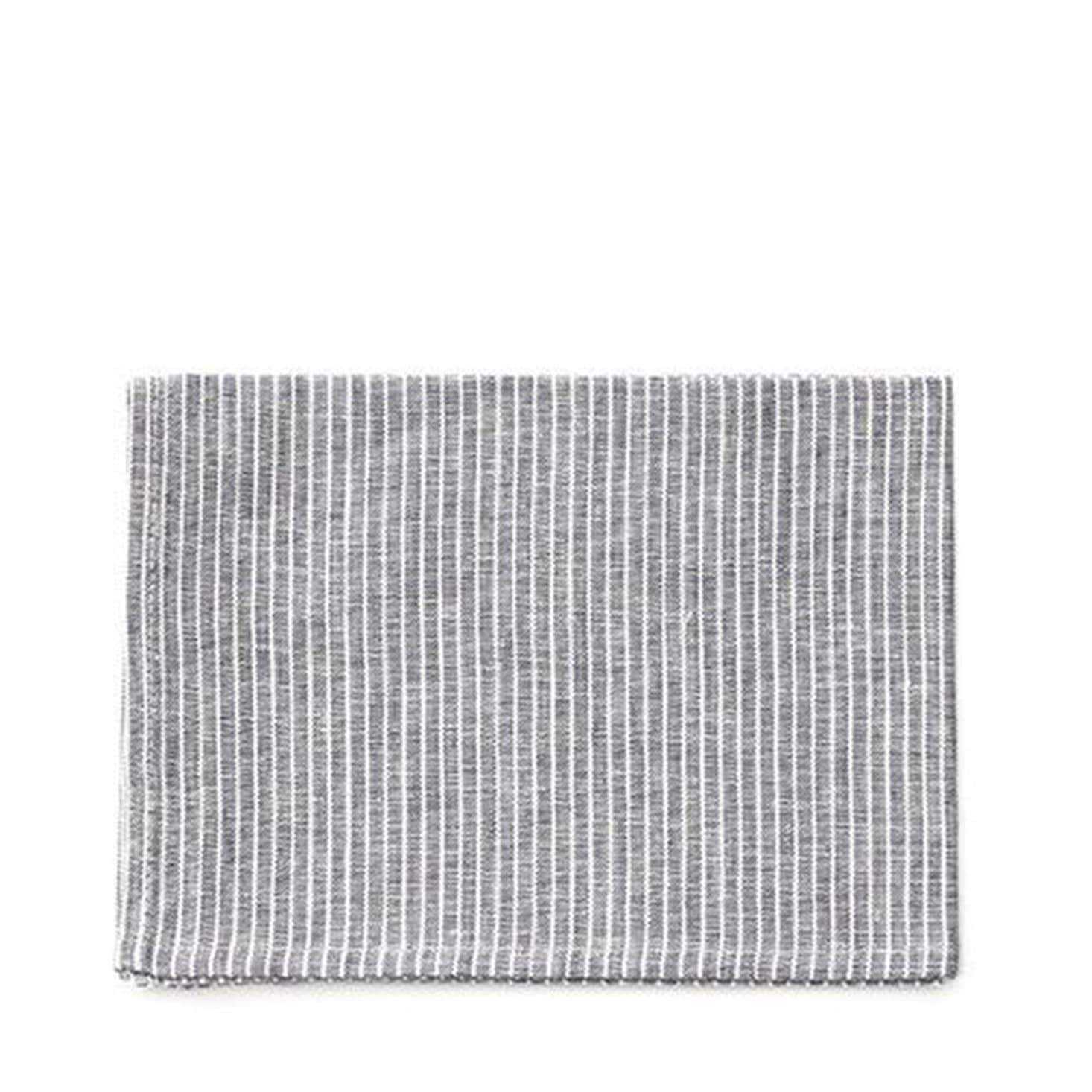 Fog Linen Work Tea Towel - Grey Pinstripe