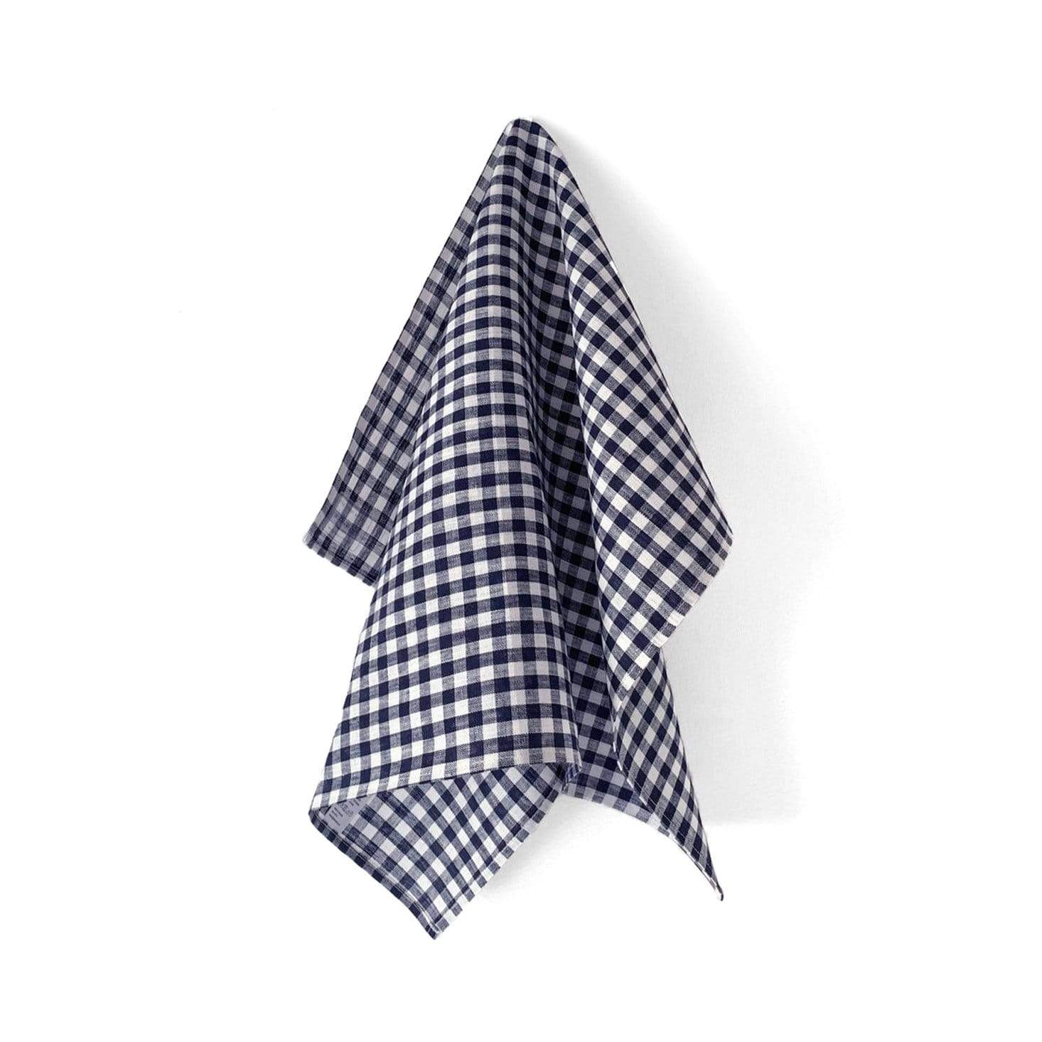 Fog Linen Work Tea Towel - Navy Check