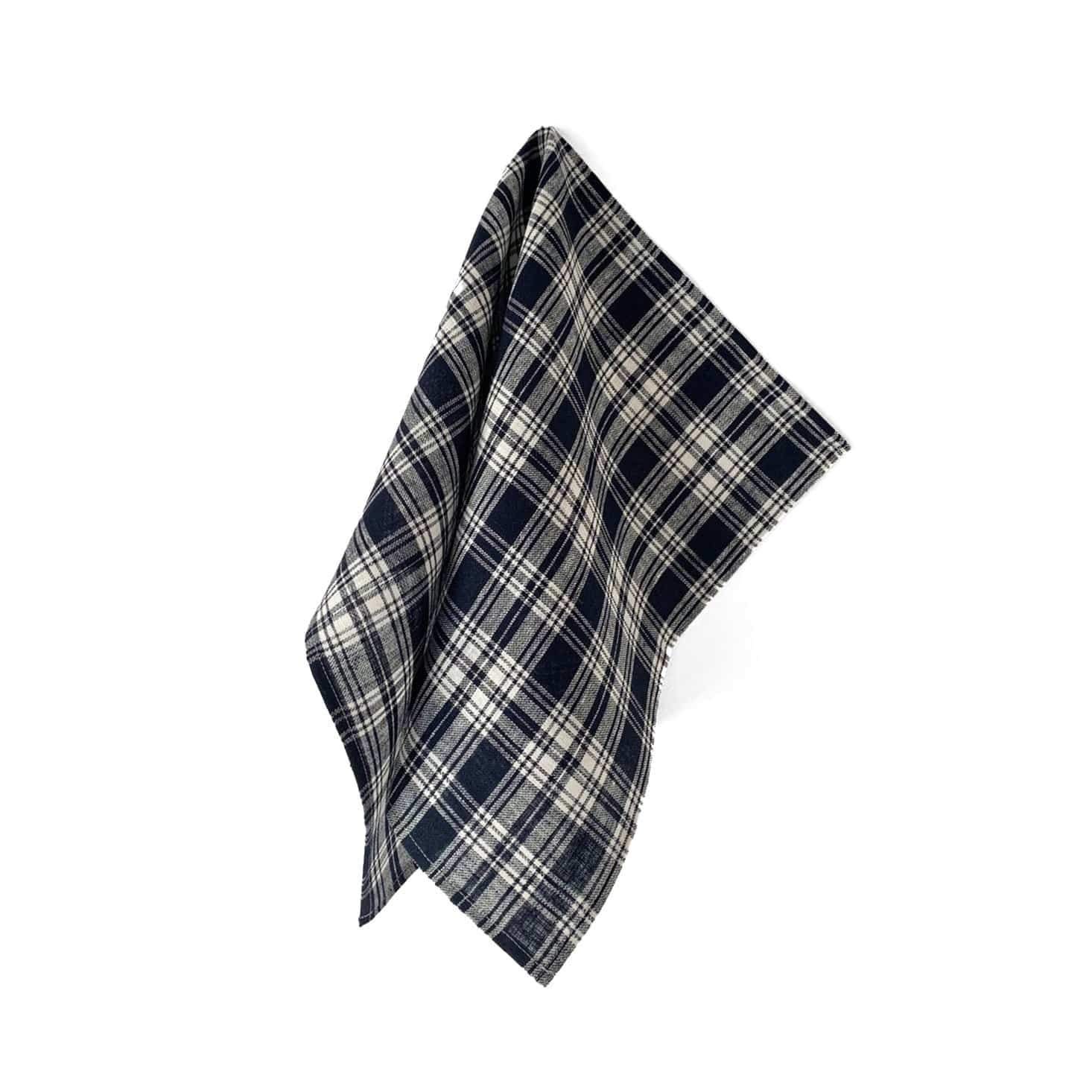 Fog Linen Work Tea Towel - Navy Plaid