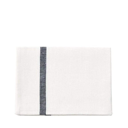 Fog Linen Work Tea Towel - White with Navy Stripe