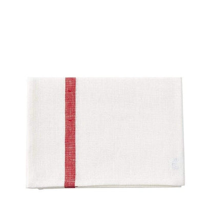Fog Linen Work Tea Towel - White with Red Stripe