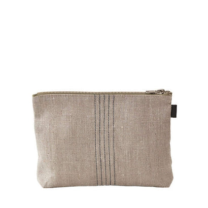 Fog Linen Work 'Tina' Pouch - Natural + Black