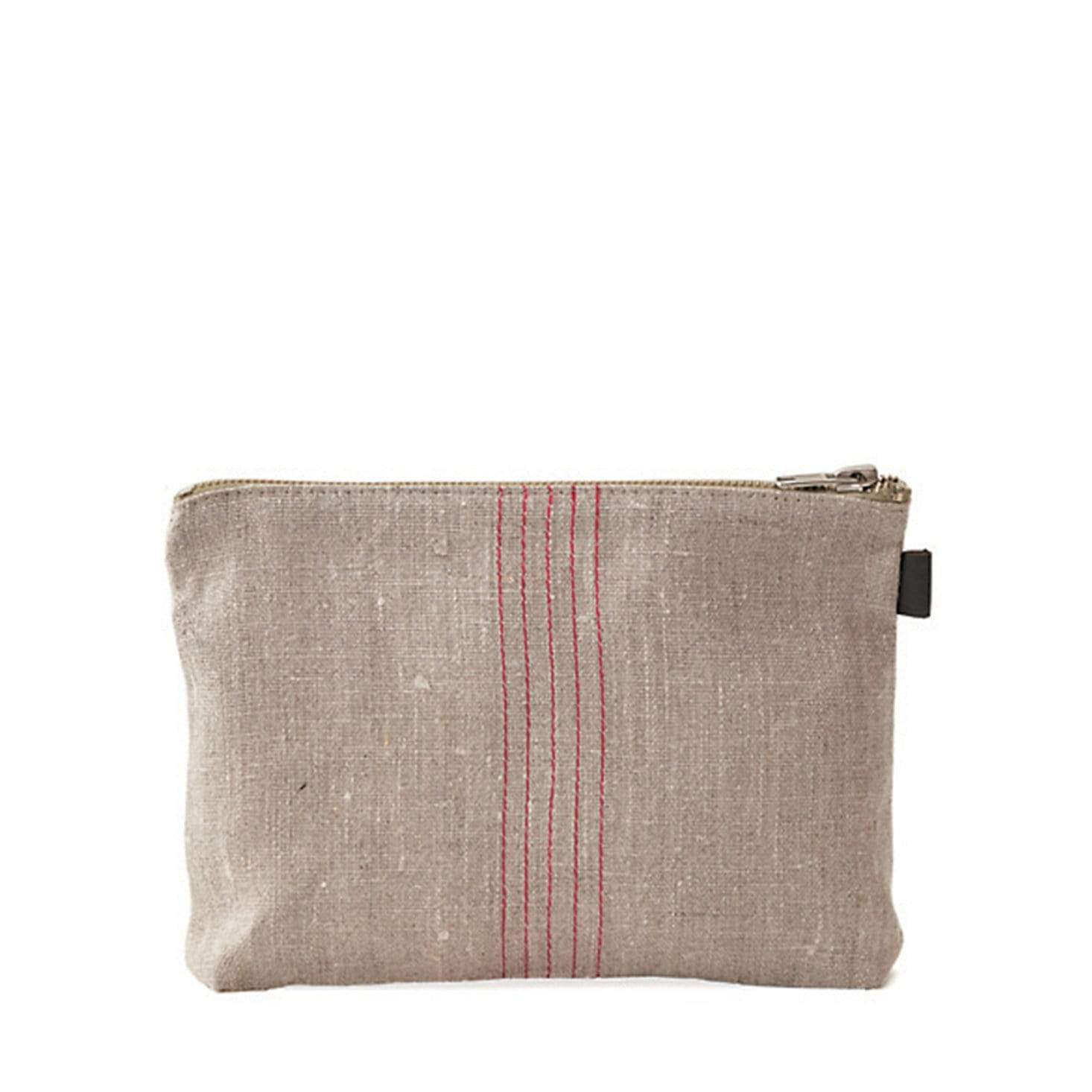 Fog Linen Work 'Tina' Pouch - Natural + Red