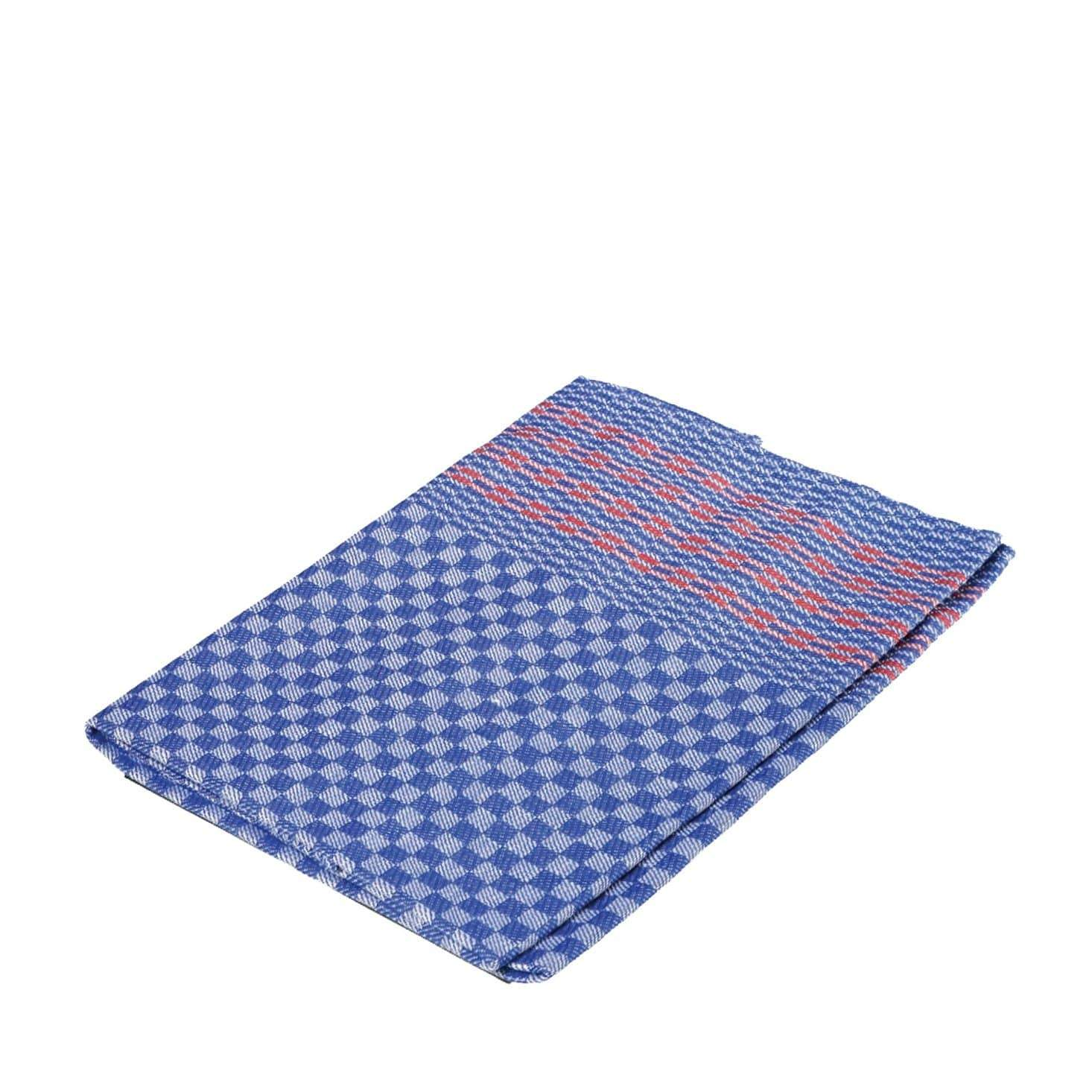 Redecker Oversized Kitchen Towel - Blue Check + Red Stripes