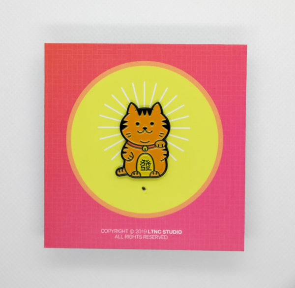 """Lucky Cat Orange"" Pin"