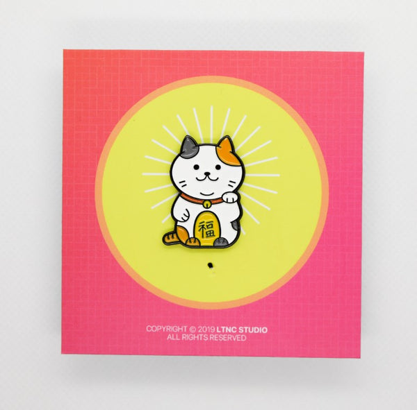 """Lucky Cat White"" Pin"