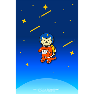 """Space Cat"" Pin."