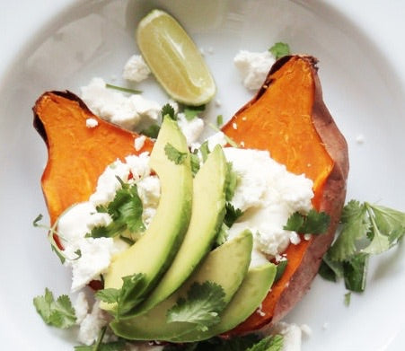 Baked Sweet Potatoes with Tvorog