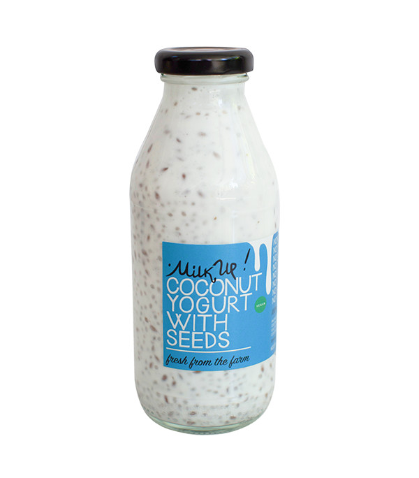 Coconut Drinkable Yogurt With Chia & Flax Seeds 4,5%, 350ml, glass, vegan