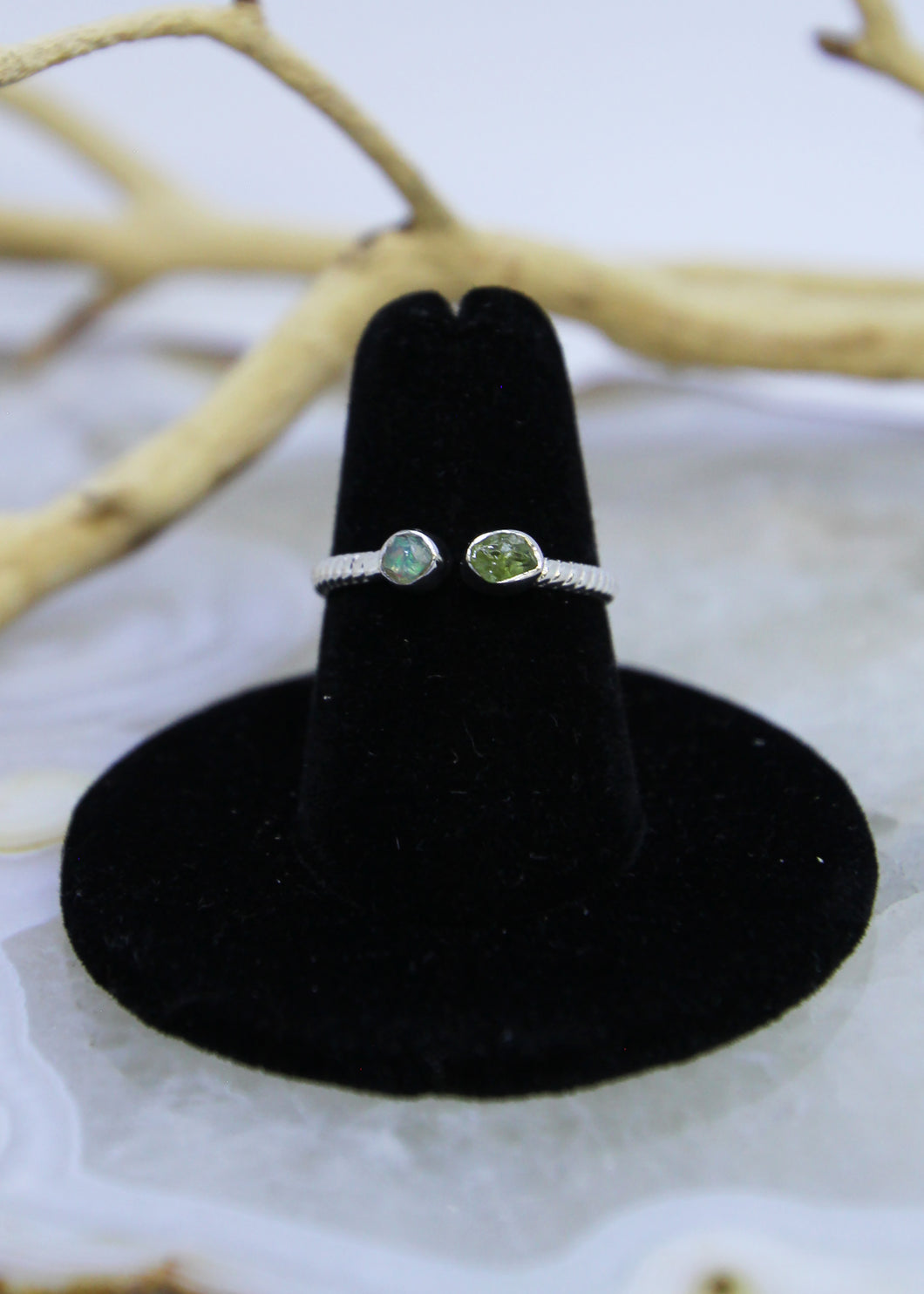 Peridot & Ethiopian Opal Raw Ring Irregular* (All Sizes)