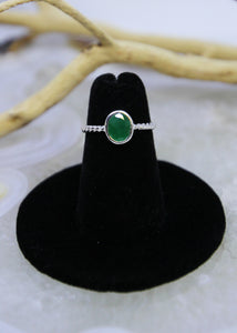 Emerald Faceted Ring (Size 4)