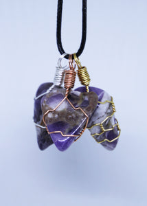 Chevron Amethyst Wire Wrapped Pendant
