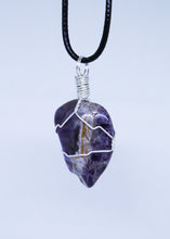 Load image into Gallery viewer, Chevron Amethyst Wire Wrapped Pendant
