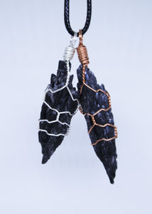 Black Kyanite Wire Wrapped Pendant