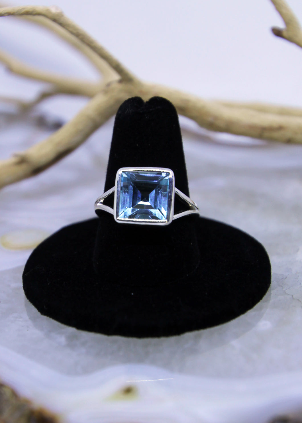 Blue Topaz Faceted Ring (Size 9)