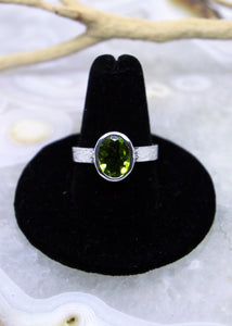 Peridot Faceted Ring (Size 9)