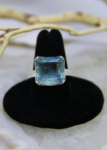 Aquamarine Faceted Ring