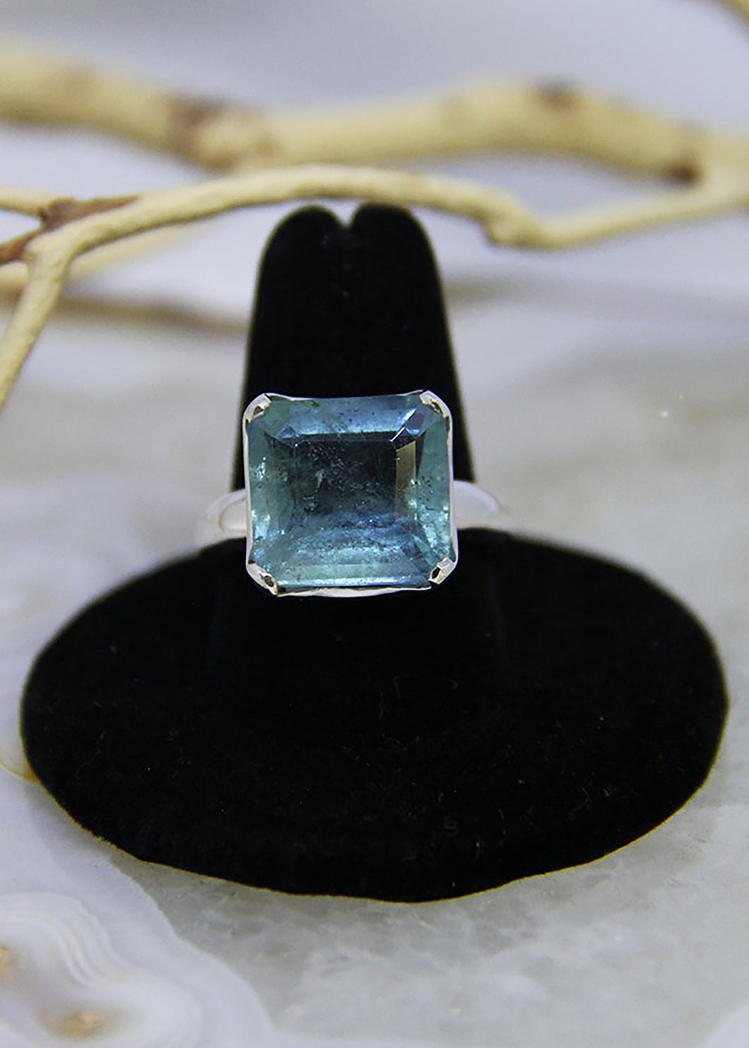 Aquamarine Faceted Ring (Size 9.5)