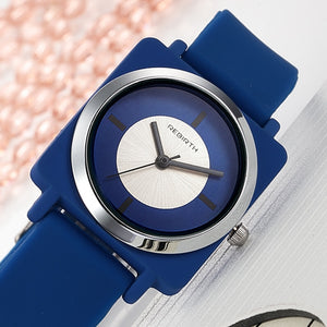 Circled Square Solid Colored Watch