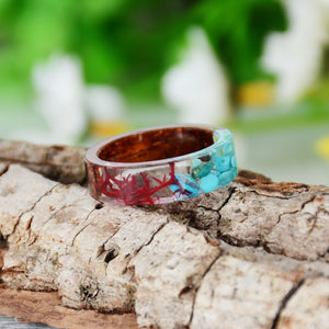 Handmade Wood Resin Flowers & Plants Embedded  Ring