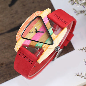 Rainbow Colored Wooden Watch