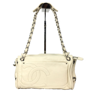 Chanel white leather chain bag