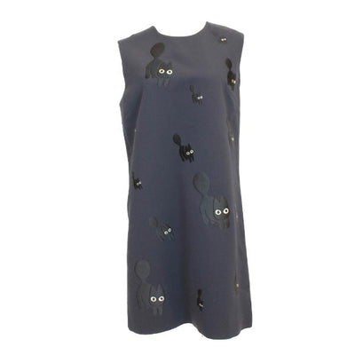 Victoria Beckham Black Cat Embroidery Shift Dress