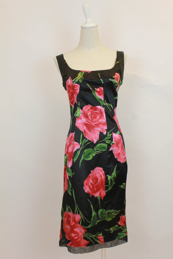 Dolce & Gabbana D&G Only Under 40 Black and Red Floral Satin Sleeveless Dress