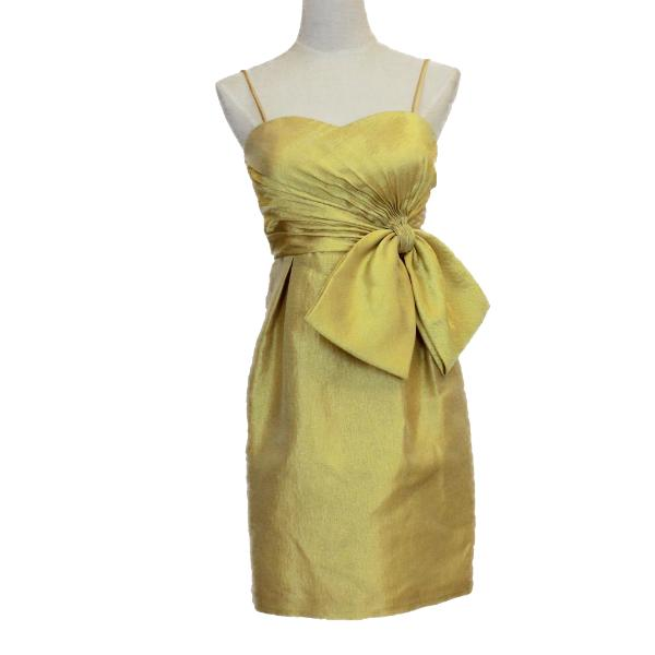 Walter Ma gold-tone evening dress with ribbon