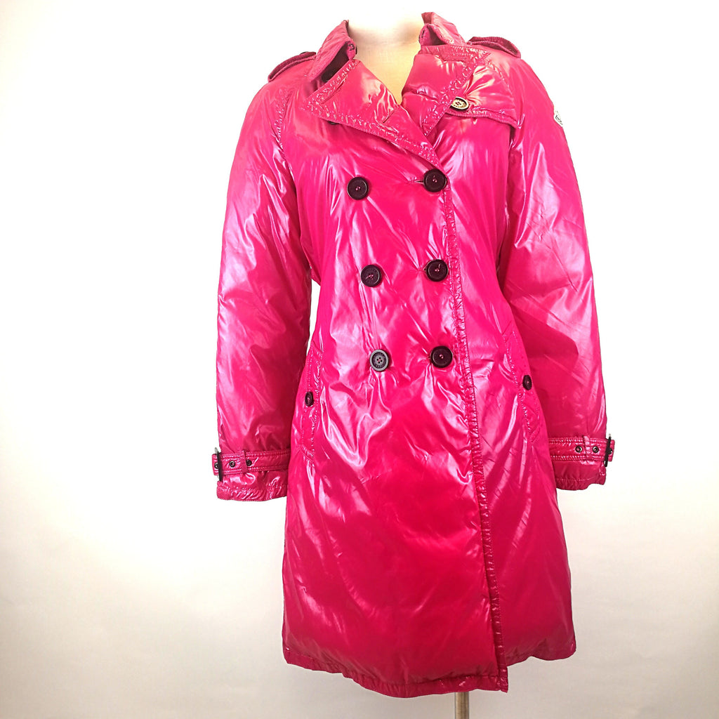 Moncler shocking pink double-breasted down jacket