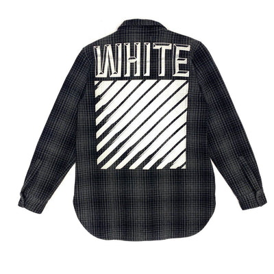 Off-White Flannel Shirt (Grey Color)
