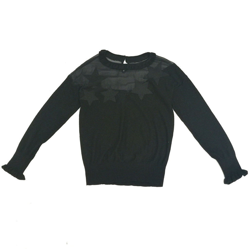 Sonia by Sonia Rykiel mesh panel black knit top
