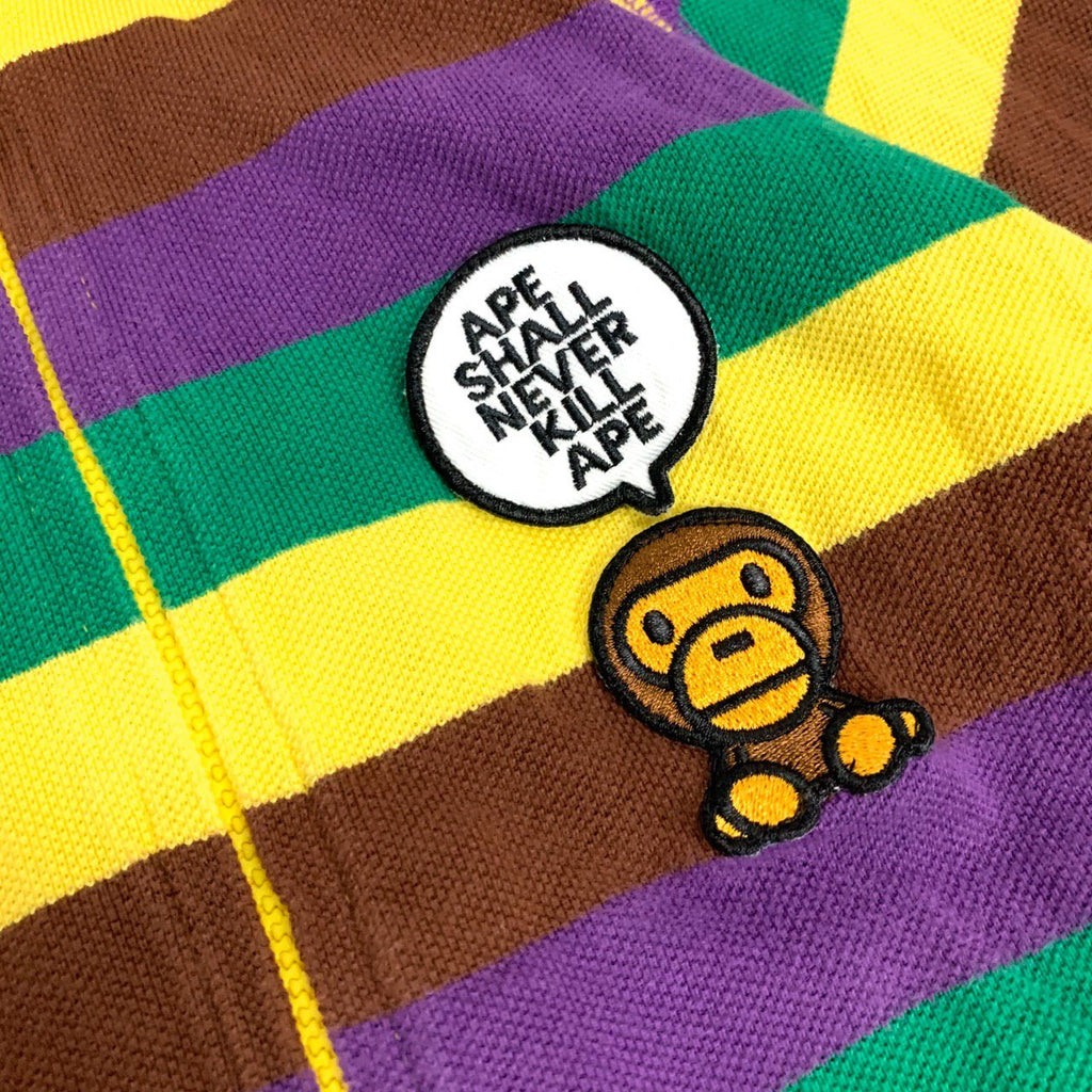A Bathing Ape Bape Baby Milo Stripe Pattern Zip up HGoodie