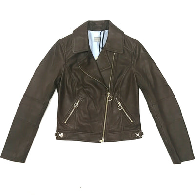 PennyBlack brown leather biker jacket