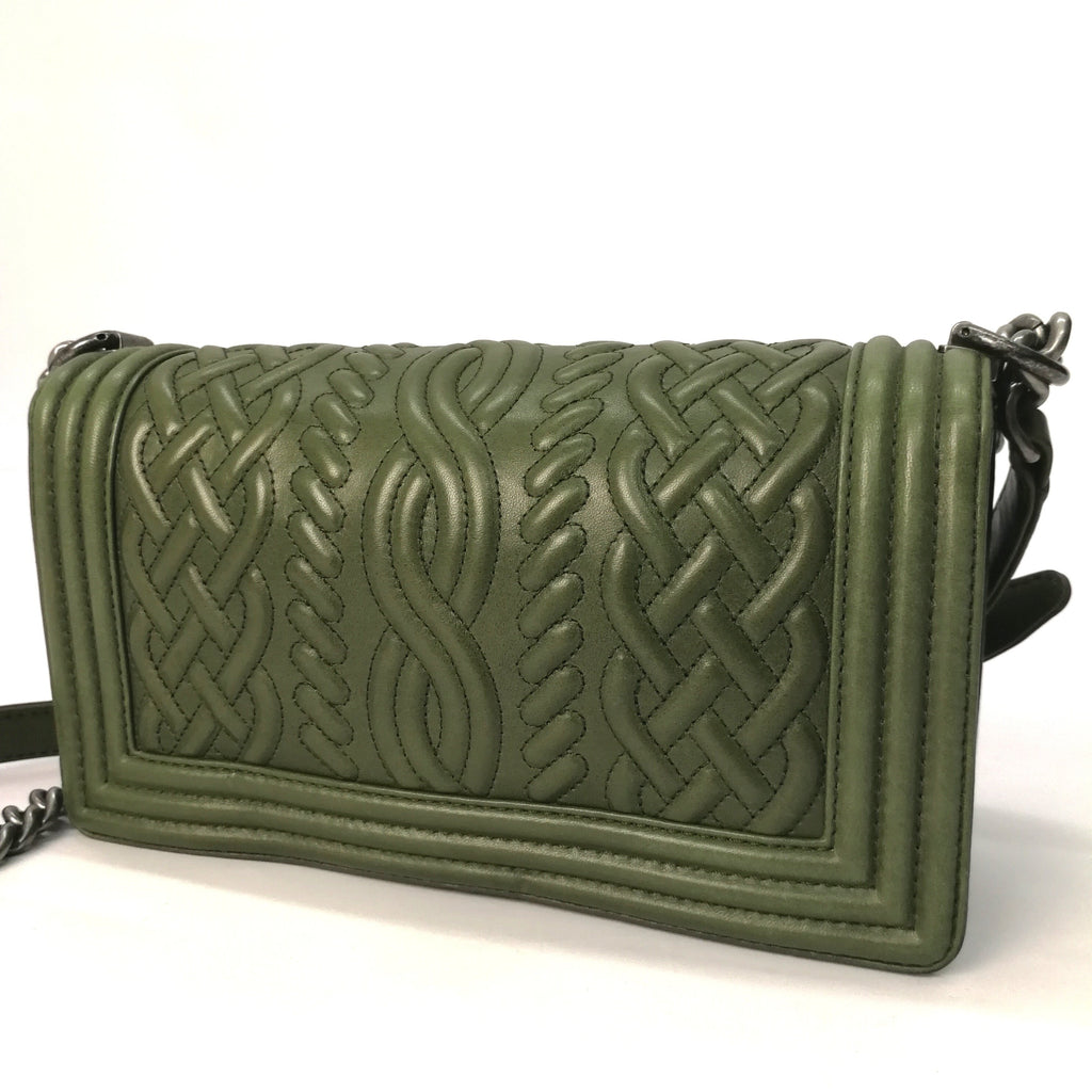 Chanel Boy embossed flap bag (green)