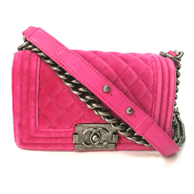Small Boy Chanel Velvet Small Flap, Fuchsia