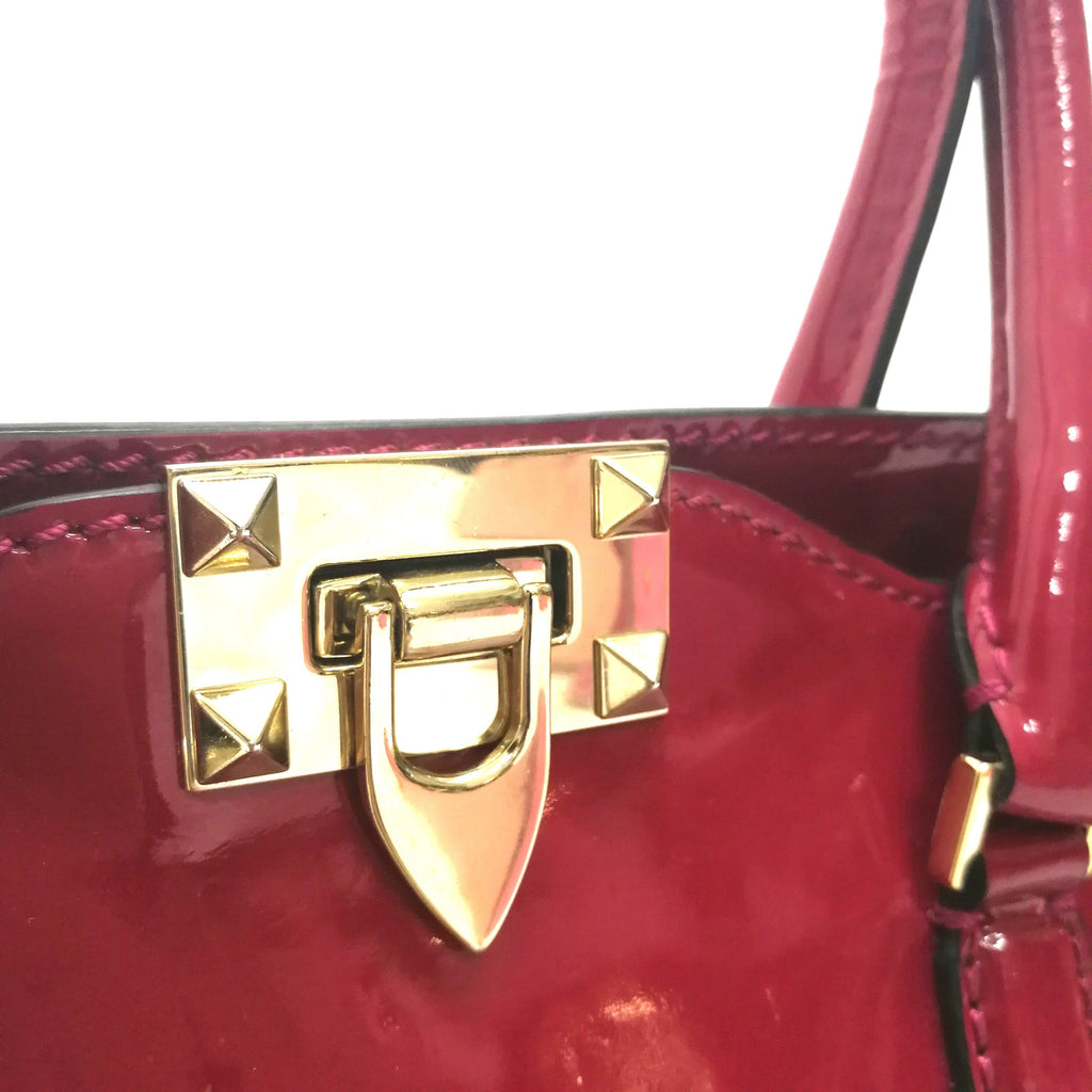 Valentino rockstud patent leather tote bag
