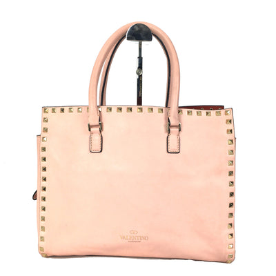 Valentino Garavani Pink Rockstud Leather Working Bag
