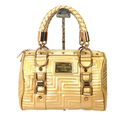 Versace quilted patent leather small snap out of it satchel