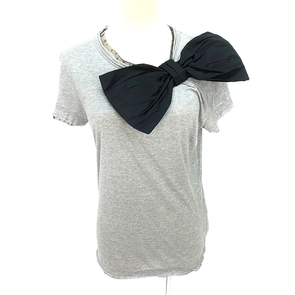 Red Valentino grey top with black ribbon